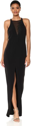 Halston Women's Sl Crepe Gown W FRNT Embroidery Detail