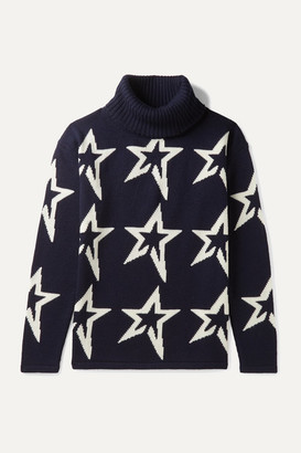 Perfect Moment Kids Ages 6 - 12 Star Dust Intarsia Merino Wool Turtleneck Sweater