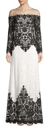 Tadashi Shoji Lace Long-Sleeved Illusion Gown