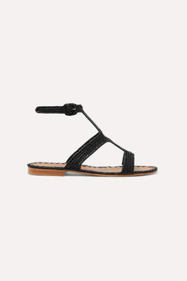 Carrie Forbes Hind Woven Raffia Sandals - Black