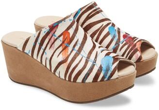 Chocolat Blu Yiona Genuine Calf Hair Wedge Slide Sandal