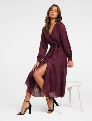 Forever New Jojo Metallic Midi Dress - Plum - 4