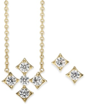 "Eliot Danori Cubic Zirconia Pendant Necklace & Stud Earrings Set, 16"" + 1"" extender, Created for Macy's"