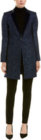 Elie Tahari Leather-Trim Wool-Blend Coat