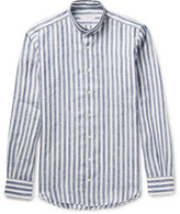 P. Johnson Mandarin-Collar Striped Linen Shirt
