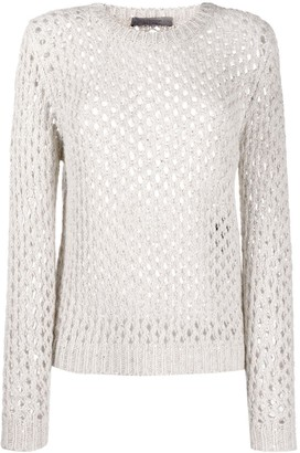 D-Exterior Open-Knit Rib-Trimmed Jumper