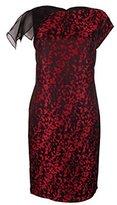 Anne Klein Women's Animal Jacquard Sheath Dress with Organza Sleeve Detail