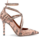 Valentino Love Latch eyelet-embellished lizard pumps
