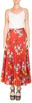 Erdem Nesrine Pleated Floral-Print Skirt