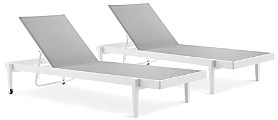 Modway Charleston Outdoor Patio Aluminum Chaise Lounge Chair, Set of 2