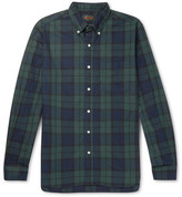 Beams Button-down Collar Black Watch Checked Cotton Shirt - Black