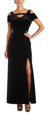 Night Way Nightway Plus Size Long Stretch Velvet Cold-Shoulder Dress