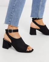 Miss Selfridge heeled sandals with flare heel in black