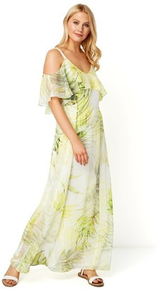 M&Co Roman Originals leaf print cold shoulder maxi dress