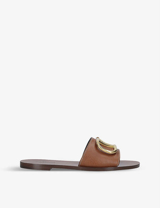 Valentino Go-logo leather slider sandals