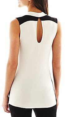 JCPenney Bisou Bisou® Sleeveless Pleather-Trim Cowlneck Top