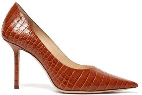 Jimmy Choo Love 85 Crocodile Embossed Leather Pumps - Womens - Tan