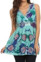 Sakkas 13518 - Allena Sequin Embroidered Sleeveless Elegant V-Neck Blouse / Top - S