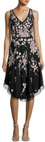 Aidan Mattox Sleeveless Embroidered Floral A-Line Dress, Black/Multicolor