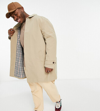 Burton Menswear Big & Tall mac coat in tan