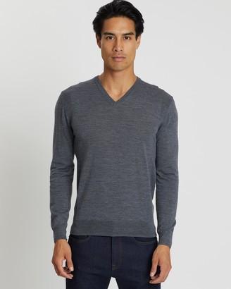 Cerruti Merino Wool Melange V-Neck Sweater