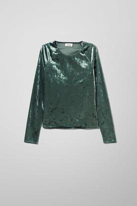 Weekday Kyra Velvet Long Sleeve - Green