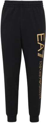 Ea7 Emporio Armani Logo Printed Cotton Sweatpants