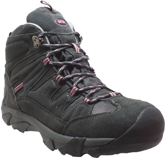 AdTec Ad Tec 100% Waterproof Suede Leather Lace-Up Composite Toe Safety Work Boots for Women Grey/Pink
