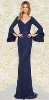 Mac Duggal Fully Beaded Bell Sleeve Column Evening Dress