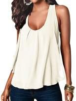 Fashion Story Women Crewneck Casual Loose Chiffon Sleeveless Tank Vest Shirt T-shirt Top