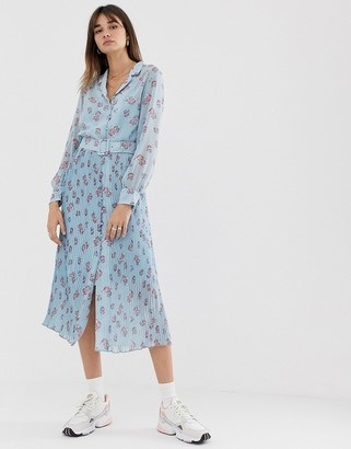 Levete Room floral maxi dress with pleated skirt and button front-Blue