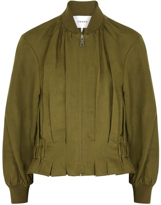 Frame Olive pintucked linen-blend bomber jacket
