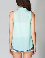 Full Tilt Essential Button Front Chiffon Womens Shirt