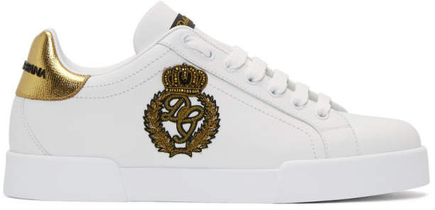 Dolce & Gabbana White and Gold Crest Portofino Sneakers