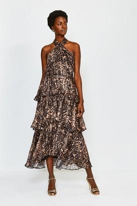 Karen Millen Printed Halter Neck Tiered Dress