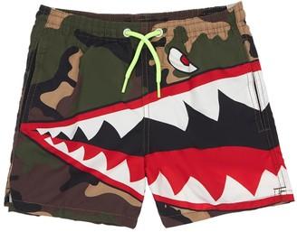 MC2 Saint Barth Camo Shark Print Nylon Swim Shorts