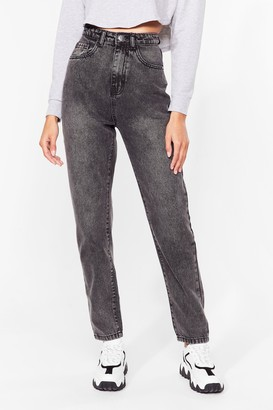 Nasty Gal Womens No Need To Distress Acid Wash Mom Jeans - Light Grey