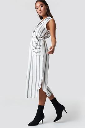 Trendyol Striped Slit Midi Dress