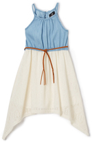 Dollhouse Light Blue & Egret Denim Belted Sidetail Dress - Toddler