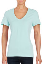 Lord & Taylor Stretch Cotton V-Neck Tee