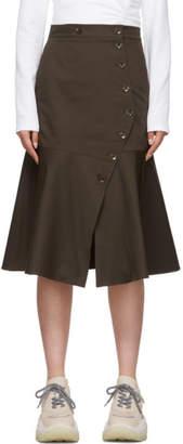 Tibi Brown Dominic Twill Skirt