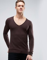Asos Extreme V Neck Jumper In Muscle Fit