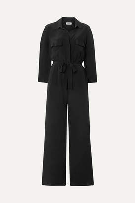 L'Agence Teddy Belted Washed-silk Jumpsuit - Black