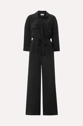 L'Agence Teddy Belted Washed-silk Jumpsuit - Black