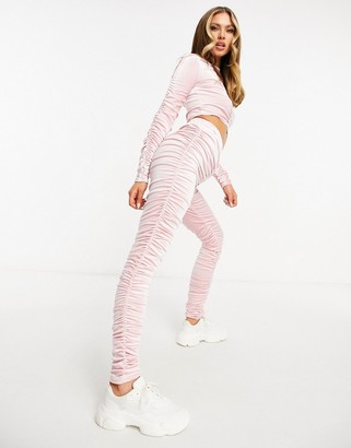 Moda Minx velour ruched detail top and sweatpants set in pink