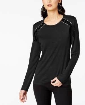 INC International Concepts Inc Petite Ribbon-Laced Sweatshirt, Created For Macy's