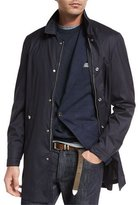 Brunello Cucinelli Wool-Silk Overcoat, Navy