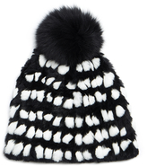 Diane von Furstenberg Monochrome Graphic Pompom Rabbit Fur Hat