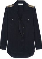 Pierre Balmain Embellished Silk Crepe De Chine Shirt - Navy
