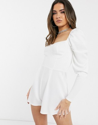 Asos Design DESIGN cupped playsuit with long sleeves in scuba crepe-White